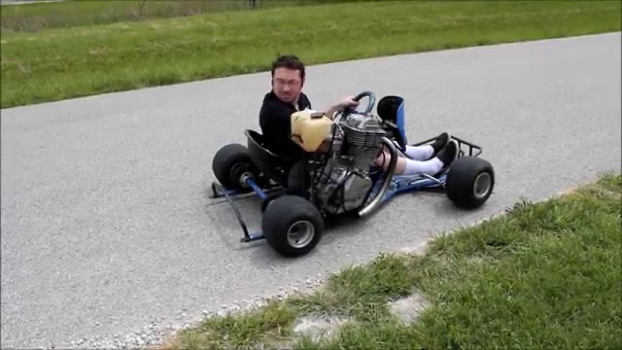 Go kart equipped with motorcycle engine blasts through the for Motor go kart for sale